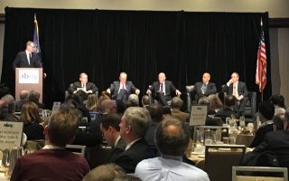 紐約和新澤西參議員一同舉辦座談會,討論Gateway計畫的重要性。 (莊翊晨/大紀元)