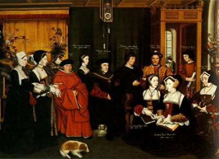 托马斯•莫尔和家人。Rowland Lockey绘于1592年。 (维基百科)