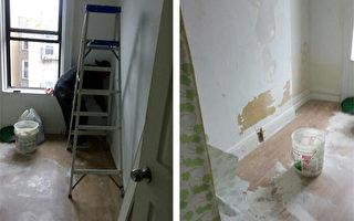 工人在把牆上的漆刮下來。白色粉末散落的到處都是。 (胡太太提供)