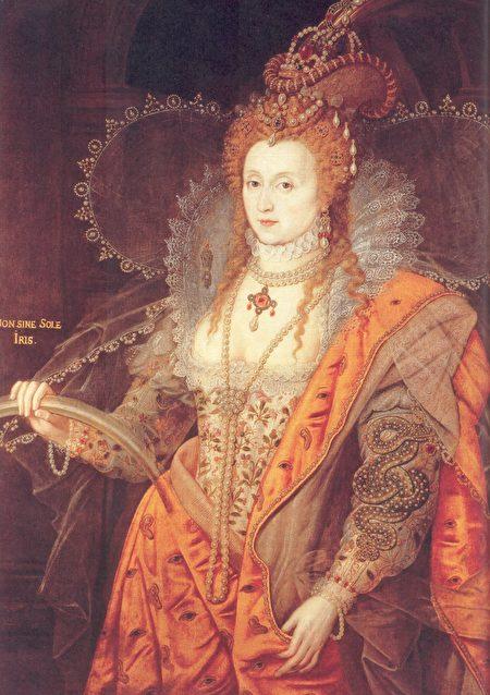 女王伊丽莎白一世。Isaac Oliver作品。(维基百科)