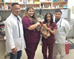 湾区兽医名家Dr. Carpio(左)和医院职员们。(丁阳明/大纪元)
