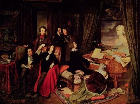 李斯特在钢琴上演奏(维基百科)