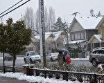图:12月5日,大温地区今冬第一场雪。(唐风/大纪元)