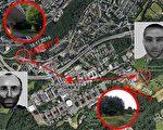 图为两起强奸案发生的地点。右边是第一起案件发生地,左边是第二起案发地,中间是波鸿鲁尔大学。(图片来源:德文大纪元)