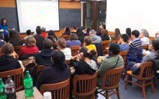 哥伦比亚大学首映获奖纪录片《活摘》,吸引多人到场观看。 (庄翊晨/大纪元)