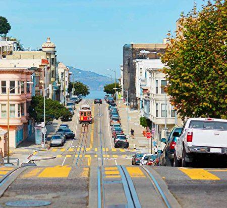 舊金山的道路蜿蜒起伏,好像是舊金山房地產的走勢圖。(Shutterstock)