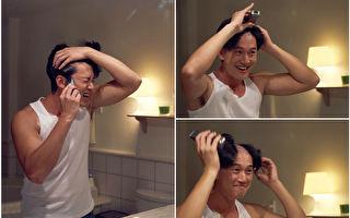 吳慷仁為開拍的新片落髮。(緯來電影台/大紀元合成)