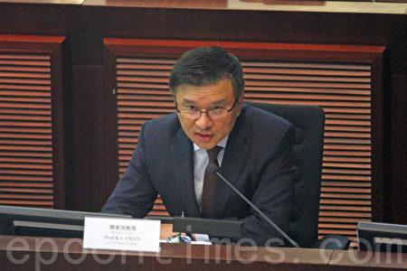 陳家強昨天出席立法會財經事務委員會,簡報香港整體經濟最新狀況。他指樓市在過去兩個月降溫,但政府會繼續留意市況,適時再推措施穩定樓市。(蔡雯文/大紀元)