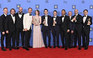 今年金球獎被提名7項大獎的電影《樂來樂愛你》,這次獎項全中,得獎率百分百。 (Kevin Winter/Getty Images)