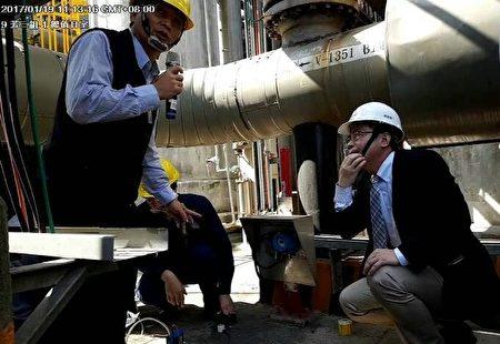 劳动部和高市府劳工局直驱中油林园厂区实地安检发现3项缺失亟待改善。(高市劳工局提供)