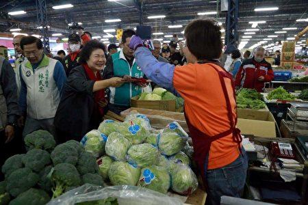 市长陈菊20日到高雄果菜批发市场巡视,了解供货状况,并发送红包及春联。(高市农业局提供)