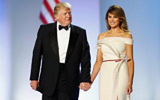 1月20日晚上的就职舞会上,第一夫人梅兰妮亚穿着白色露肩礼服亮相。但自那个周末之后,迄今12天尚未在公开场合露面。(Aaron P. Bernstein/Getty Images)