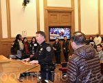 旧金山英格西(Ingelside)警局分局长Joseph McFadden也向委员们表示反对在2442 Bayshore Avenue开药用大麻店。(李霖昭/大纪元)