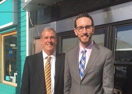 杰弗里·希伊(左)和已经成为州参议员的威善高。(威善高办公室提供)