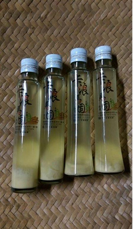 宜蘭縣南澳鄉金岳社區發展協會自製卡浪馬固小米酒。(宜蘭文化局提供)