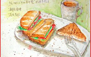 淡彩速寫 / 三明治和花生厚片(圖片來源:作者 邱榮蓉 提供)