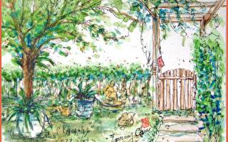 淡彩速寫 / 友人家的竹籬笆小院(圖片來源:作者 邱榮蓉 提供)