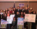 金兑锡与小企业业主集会,呼吁州财政预算拨款5千万扶持小企业。 (林丹/大纪元)