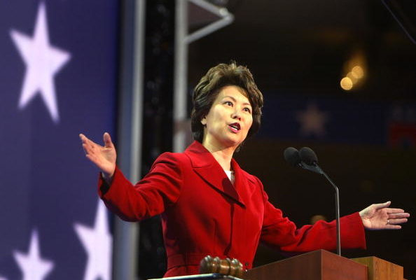 NEW YORK - SEPTEMBER 01:  U.S. Secretary of Labor Elaine Chao speaks on night three of the Republican National Convention September 1, 2004 at Madison Square Garden in New York City.  (Photo by Joe Raedle/Getty Images)