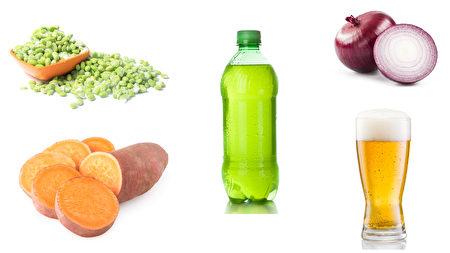 容易胀气的食品:豆类,红薯,洋葱,汽水,啤酒。(Fotolia/大纪元合成)
