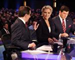 2016年1月28日,福克斯新闻主播凯莉(中)、华莱士(左)和拜耳(右)主持美国大选电视辩论会。(Alex Wong/Getty Images)