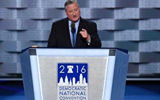 2016年7月25日,费城市长肯尼在富国银行中心召开的民主党全国大会上演讲。(Getty Image)