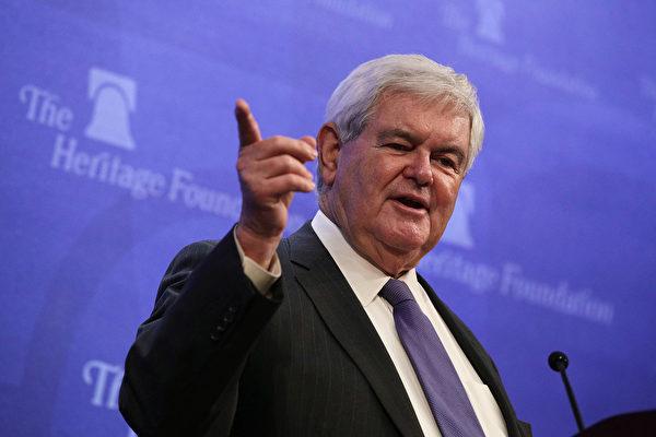 """位于华盛顿特区的美国智库""""传统基金会""""1月10日举办系列研讨会,邀请前国会议长金里奇(Newt Gingrich)为""""川普新政和川普主义""""做深度解读。(Alex Wong/Getty Images)"""