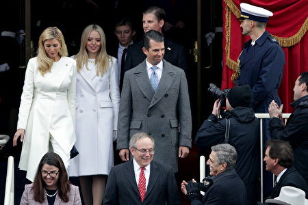 WASHINGTON, DC - JANUARY 20: President-Elect Donald Trump's children Ivanka Trump (L), Tiffany Trump, Donald Trump Jr, and Eric Trump arrive on the West Front of the U.S. Capitol on January 20, 2017 in Washington, DC. In today's inauguration ceremony Donald J. Trump becomes the 45th president of the United States. (Photo by Alex Wong/Getty Images)