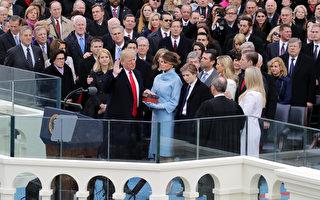 1月20日,川普在美國最高法院法官羅伯茨及眾人的見證下,宣誓就任第45任美國總統。(Chip Somodevilla/Getty Images)