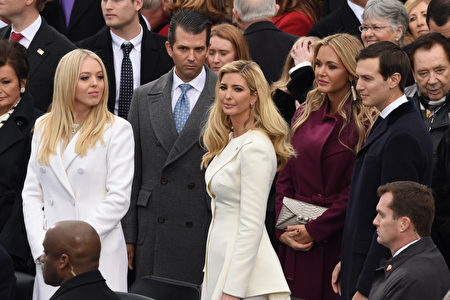 Donald Trump's family members Tiffany Trump, Donald Trump Jr, Ivanka Trump, Vanessa Trump and Jared Kushner are is seen during the swearing-in ceremony for the 45th President of the USA in front of the Capitol in Washington on January 20, 2017. / AFP / Timothy A. CLARY (Photo credit should read TIMOTHY A. CLARY/AFP/Getty Images)
