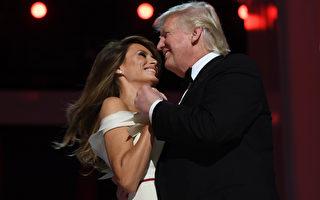 美国刚宣誓就任的第45任总统在就职当晚举行的官方舞会上与第一夫人梅兰妮亚跳第一支舞。 (JIM WATSON/AFP/Getty Images)