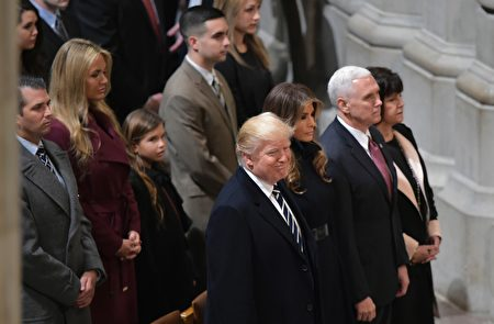 (Front row from left) US President Donald Trump, wife Melania; Vice President Mike Pence, and wife Karen attend the National Prayer Service at the National Cathedral on January 21, 2017 in Washington, DC. / AFP / MANDEL NGAN (Photo credit should read MANDEL NGAN/AFP/Getty Images)