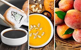 大豆、大米、南瓜、桃子等最好选择有机产品。(shutterrstock/大纪元合成)