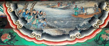 颐和园长廊彩绘中描述的刘备携民渡江的情节。(公有领域)