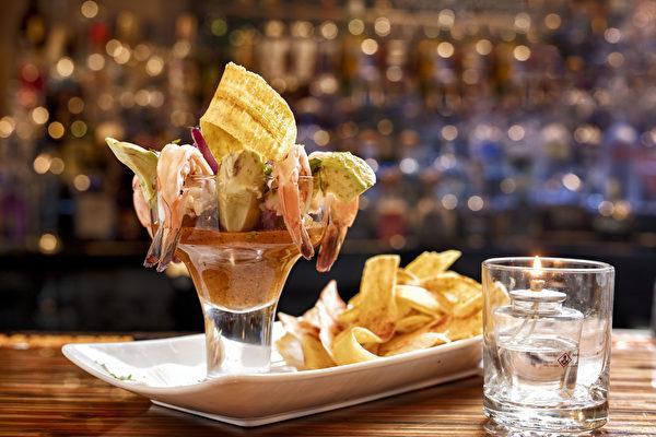 鮮蝦雞尾酒Shrimp Cocktail。(張學慧/大紀元)