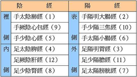 (正经十二脉,数字代表其连结次序。大纪元制表)