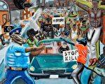 被摘掉的获奖学生作品把警察描绘成动物。(国会艺术比赛主办单位提供)