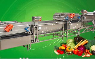 连续式洗菜机等设备让中央厨房、团膳、鲜食厨房大为节省人力。(达圆企业提供)