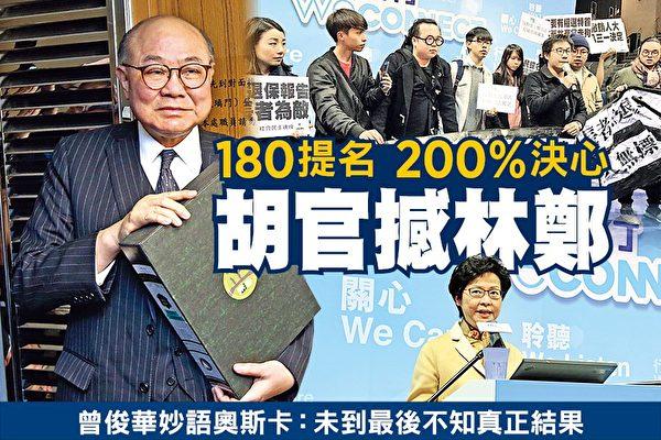 胡国兴昨日到选管会提交180份提名表格,他强调会力阻继承梁振英政策的林郑月娥当选。(潘在殊/大纪元)
