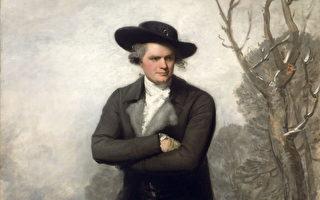 《滑冰者(威廉.葛蘭德肖像)》(Le Patineur (Portrait de William Grant))局部,吉伯特.史都華於1782年作。(維基百科)