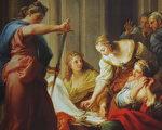 《阿基里斯在吕科墨得斯王宫(Achilles at the Court of Lycomedes)》,彭佩欧. 巴托尼 (Pompeo Batoni)作品,绘于 1745年, 油画颜料,画布,现藏于佛罗伦斯的乌菲兹美术馆。(公有领域)