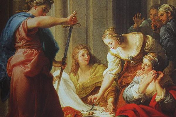 《阿基里斯在呂科墨得斯王宮(Achilles at the Court of Lycomedes)》,彭佩歐. 巴托尼 (Pompeo Batoni)作品,繪於 1745年, 油畫顏料,畫布,現藏於佛羅倫斯的烏菲茲美術館。(公有領域)