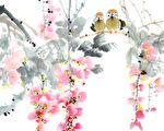 flower painting .Traditional Chinese Painting.(shutterstock)