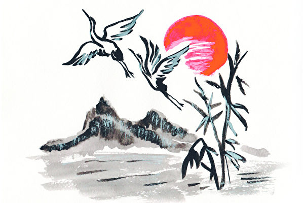 Chinese painting mountains, storks and suns(fotolia)