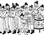 河北宣化出土辽天宁六年墓室壁画金代《散乐图》。(公有领域)