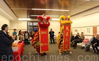 醒狮在喧闹的锣鼓声中恭祝华人权益促进会大展鸿图。(李霖昭/大纪元)