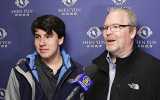 外科醫生Derek Johnson和兒子Levi Johnson觀看了2月14日威斯康辛州阿普爾頓市的神韻演出。(新唐人電視台)