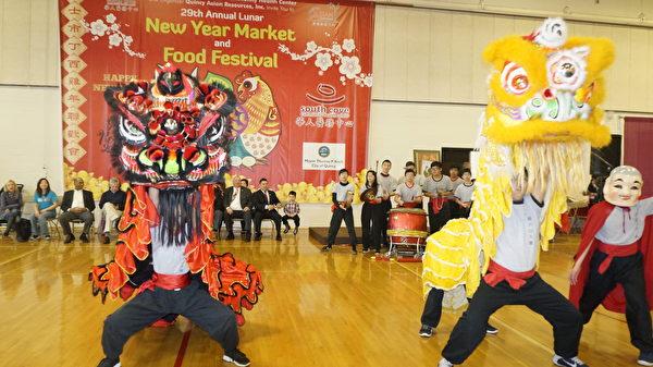 第29屆昆士新年聯歡會及美食節,祥獅獻瑞。(廖述祥/大紀元)