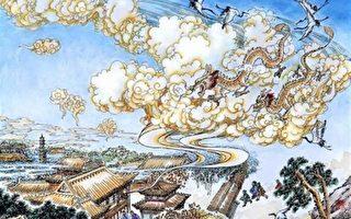 秦王周围红光罩体,紫雾腾空,烟雾之中,现出八爪金龙。(曹醉梦制图/大纪元)
