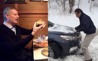 週四的暴風雪中,州長忙著拖車,市長則四處見人,包括到史坦頓島秀吃比薩。 (大紀元合成圖片)